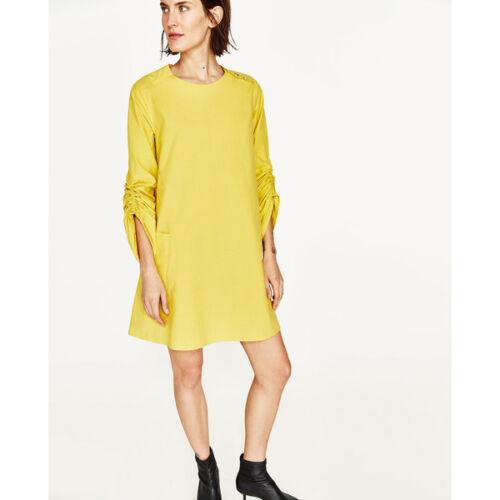 con Zara Nuovo applicate interrotto di giallo vestito cotone tasche YxwpqP5