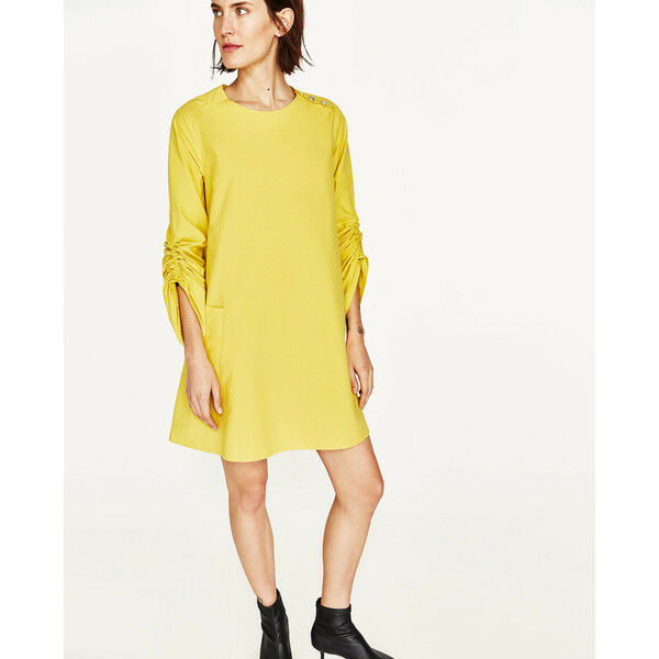 971f9cfa Zara Discontinued Yellow Cotton Dress With Patch Pockets Gathered Sleeves  for sale online | eBay
