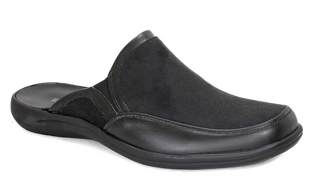 Romika Hausschuhe ROYBL 04 Pantoffeln Leder und Textil schwarz 10304 NEU