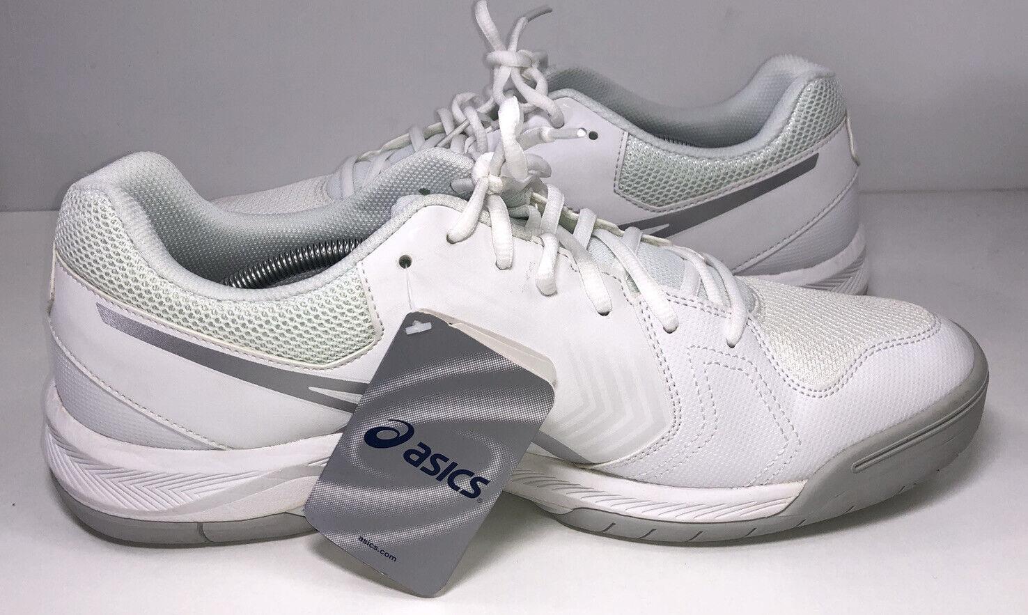 Mens ASICS GEL Dedicate Tennis Court Shoes Size 10 White Silver Gray E707Y
