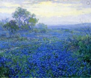 Handpainted-Decor-Art-Texas-Bluebonnets-Landscape-Oil-Painting-repro-on-Canvas