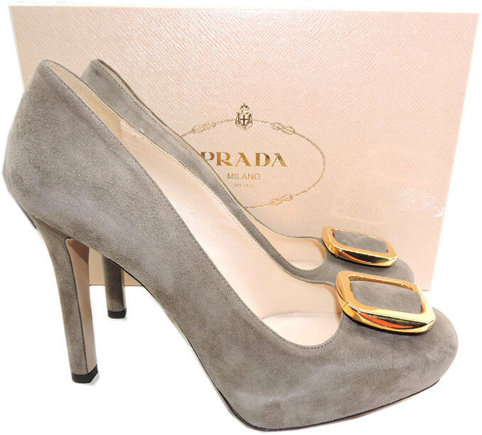 790 Prada Jeweled gold Brooch Taupe Suede Inner Platform Pump shoes 39.5