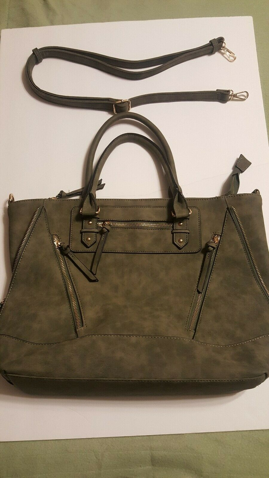 Suede like Hunter Green Spacious Satchel Purse (All weather protected)