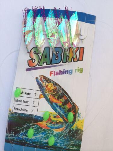 1 pc Sabiki 5 Rainbow Fur Hair Rigs Baits Fishing Hook Lures Catch Mackerel Bass