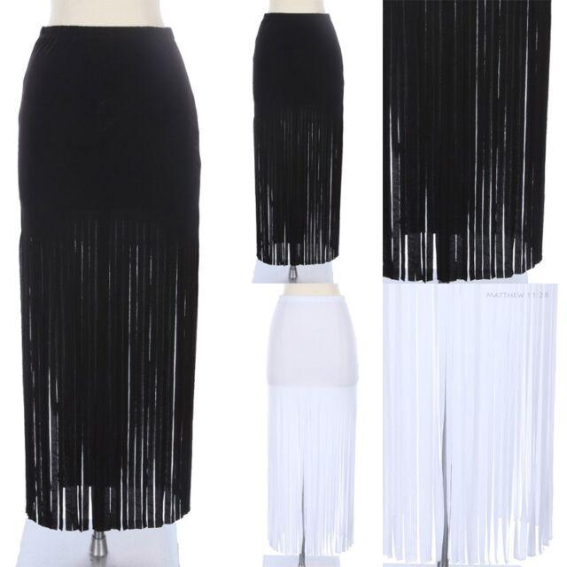 Fringe Bottom Maxi Skirt Full Length Long Solid and Plain Unique Stylish Span