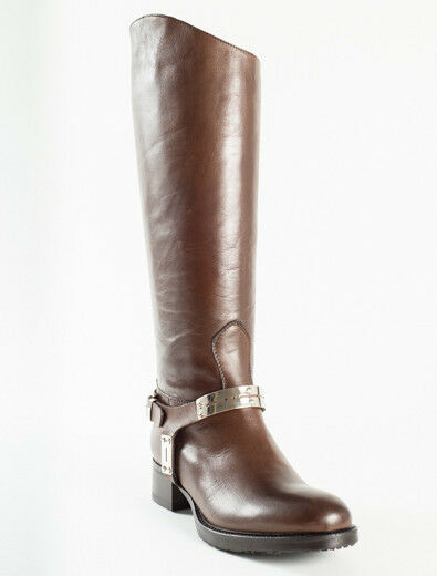 New Femme Brown Leather Boots Size 38 US 8