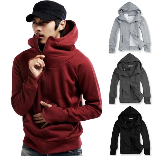 Men's Plain Hoodie Hooded Sweatshirt Jacket Casual Zipper Up Sweater Warm Coats