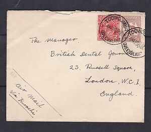 "LM2) Australia 1932 small airmail cover to ""British Dental Journal"""