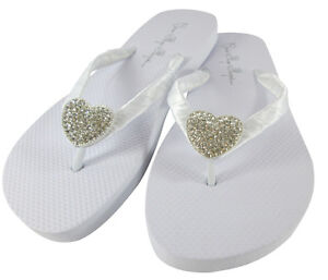 2df2daab8315 Image is loading Heart-Rhinestone-Bridal-Flip-Flops-Bride-Wedding-Sandals-