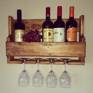 Reclaimed Pallet Wood Wine Rack And Glass Holder Bespoke Occasion