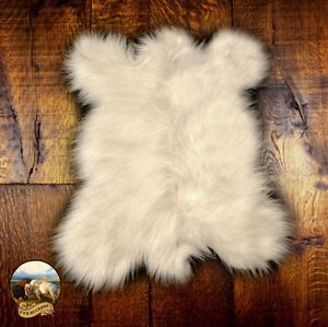 white polar bear skin faux fur pelt hide throw rug shag sheepskin area carpet ebay. Black Bedroom Furniture Sets. Home Design Ideas