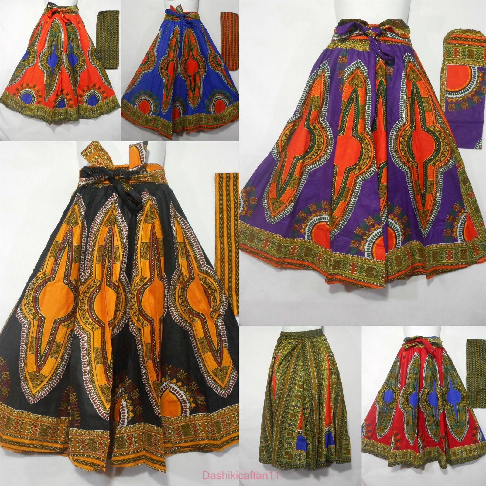 High Waist Ankara Dashiki Print Maxi Skirt African Long Skirt Elastic Waist Belt