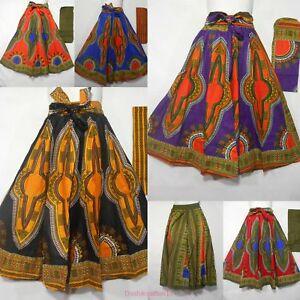 fad9e94ddd Image is loading High-Waist-Ankara-Dashiki-Print-Maxi-Skirt-African-