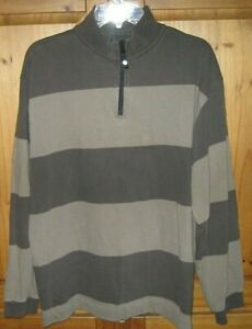 Nautica-Mens-PulloverQuarter-Zip-Rugby-SWEATER-Shirt-Cotton-Vintage-Brown-Large