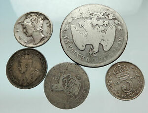 GROUP-LOT-of-5-Old-SILVER-Europe-or-Other-WORLD-Coins-for-your-COLLECTION-i75643