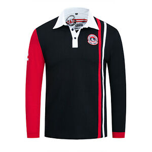NEW-MENS-Classic-Long-Sleeve-POLO-SHIRT-Casual-Golf-Sports-T-Shirts-Navy-Red6589