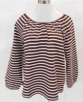 J Crew Women's Striped Long Sleeve Xl F8812 Vintage Merlot Muslin Shirt