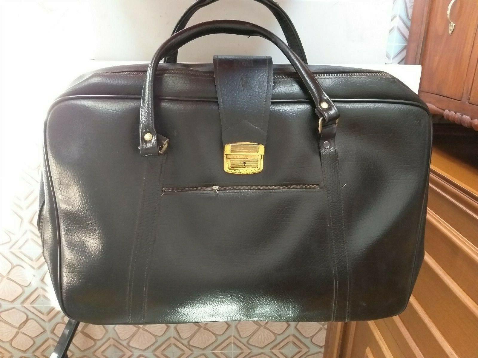 Valigia borsa in pelle nera Vintage