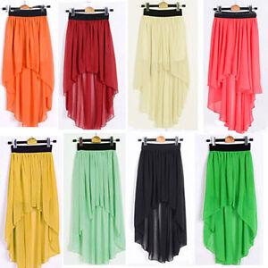 Women-Chiffon-Sexy-Elegant-Asymmetric-Long-Maxi-Skirt-Elastic-Waist-Band-Dress