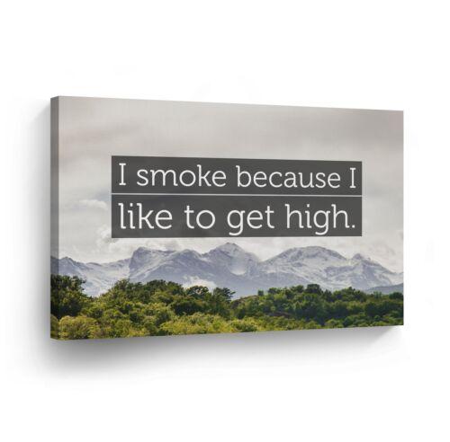 SMOKE WEED WALL ART Marijuana Leaf Smoking Canvas Print Home Decor Artwork