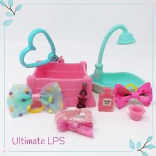 Littlest Pet Shop Lot Cat Dog Pink Accessories Bed Starbucks & Gift Bag