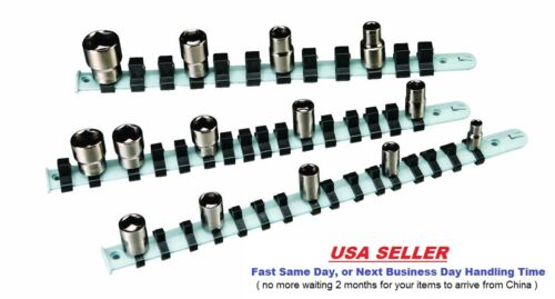 """Wall /& Bench Mount Set of 3 Non-Rusting Socket Holders 1//4/"""" 3//8/"""" 1//2/"""" Drive"""