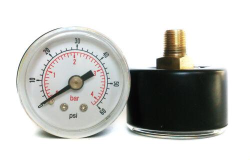 Medidor De Presión 0//60 Psi /& 0//4 Bar 40mm Dial 1//8 Bspt posterior conexión.