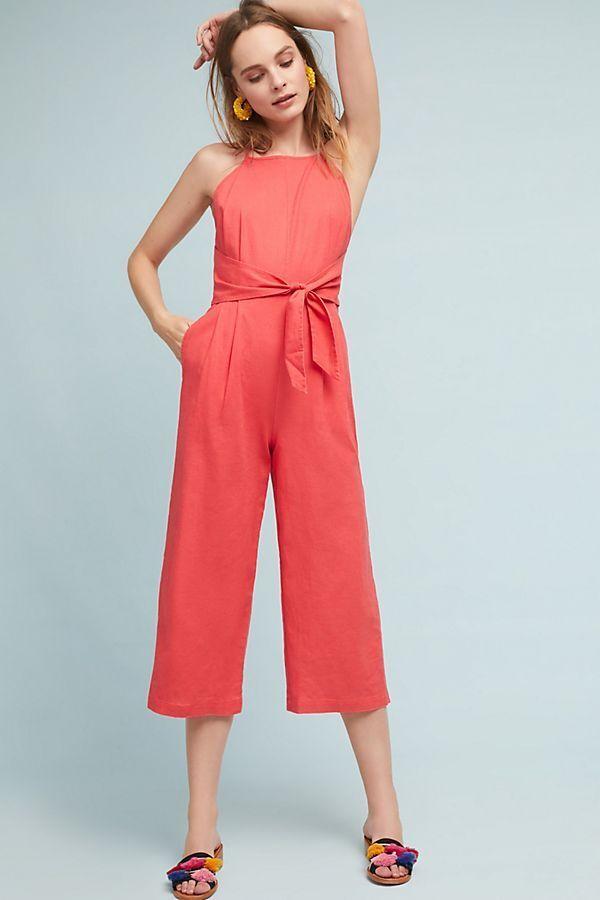 158  Anthropologie Tied Linen Jumpsuit    new XL
