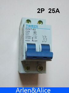 2P 25A 400V~ 50HZ/60HZ Circuit breaker AC MCB safety breaker C type
