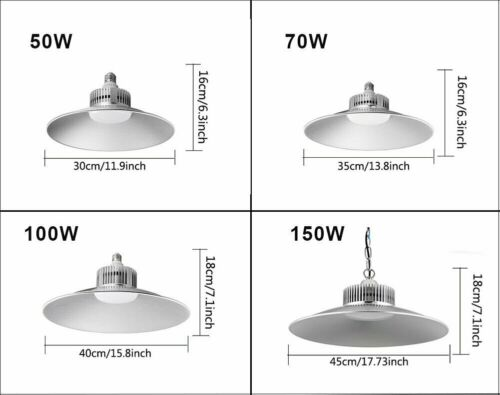 LED High Bay Light 50//70//100//150W Low Bay UFO Warehouse Industrial Garage Lights