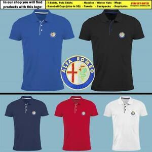 Alfa-Romeo-Polo-T-Shirt-brode-AUTO-VOITURE-logo-Slim-Fit-Tee-vetements-pour-hommes