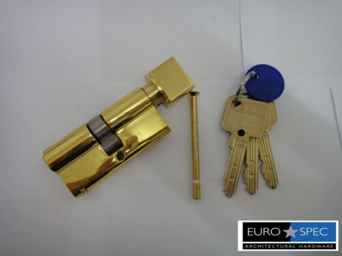WITH MASTERKEY 6PIN BRASS 70mm EUROSPEC MP10 EURO THUMBTURN CYLINDER 35//35mm