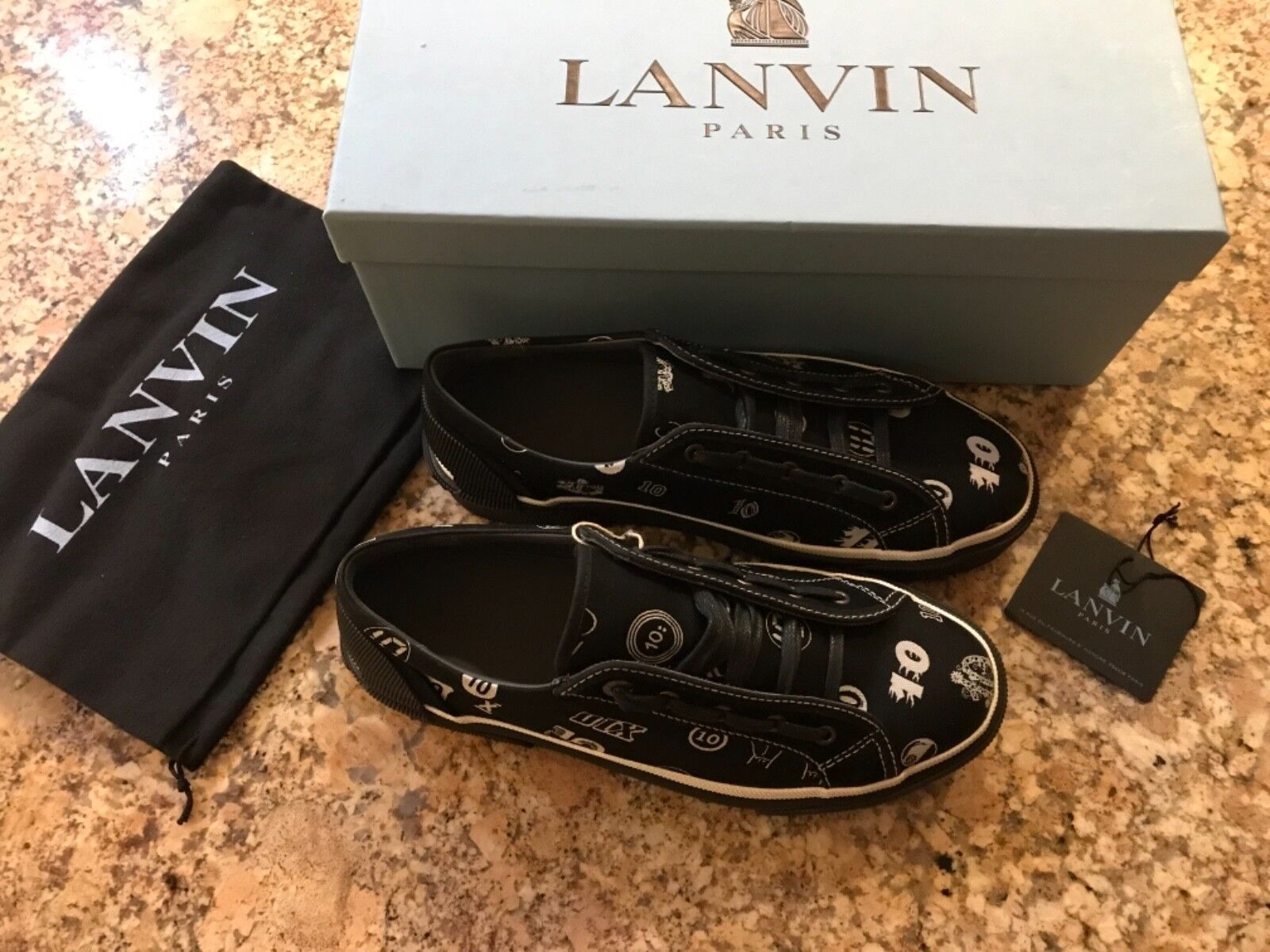 100% AUTHENTIC LANVIN TEN JACQUARD SNEAKERS, SIZE 8 US, MADE IN SPAIN