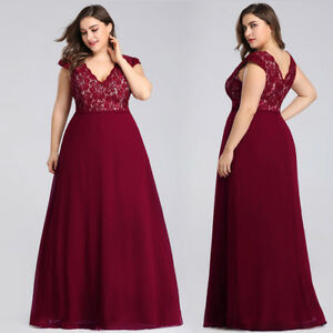 Details about UK Ever-Pretty Plus Size Evening Dresses Long Lace V Neck  Party Ball Gowns 07344