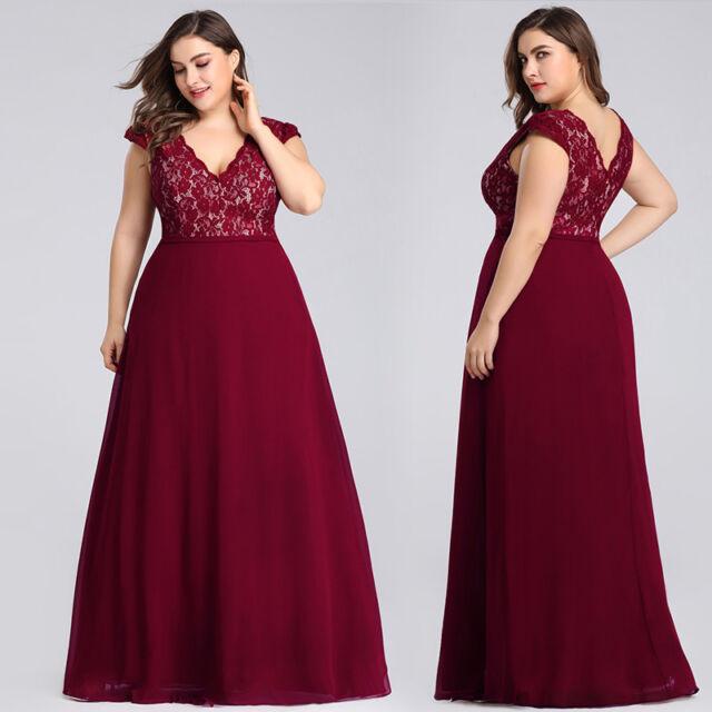 Ever-Pretty Plus Size Mother of Bride Dresses Long Lace Party Dress Burgundy
