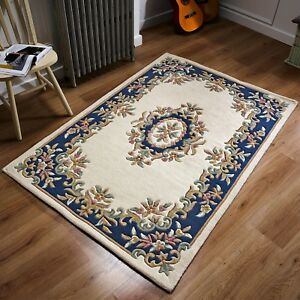Image Is Loading Royal Aubusson Cream Blue Wool Rug In Various