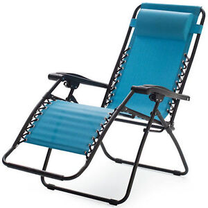 Blue Zero Gravity Chair Outdoor Folding Recliner Lawn Patio Pool Camping Beach