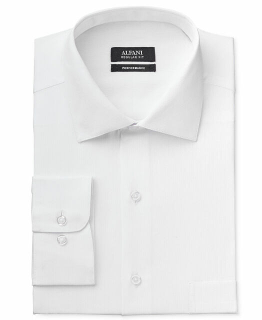 $94 ALFANI Men REGULAR-FIT STRETCH WHITE LONG-SLEEVE DRESS SHIRT 15-15.5 34/35 M