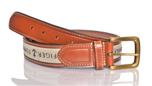 Tommy Hilfiger Men/'s Ribbon Inlay Fashion Leather Belt Khaki