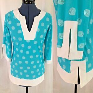 Jude-Connally-Blue-White-Seashell-V-Neck-3-4-Sleeve-Tunic-Size-Extra-Small-NWOT