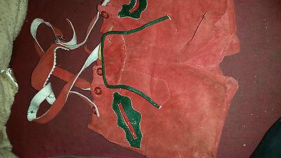 Amabile True Vintage Morbida Pelle/pelle Scamosciata Stella Alpina Lederhosen Pantaloncini Rosso 24 W-mostra Il Titolo Originale