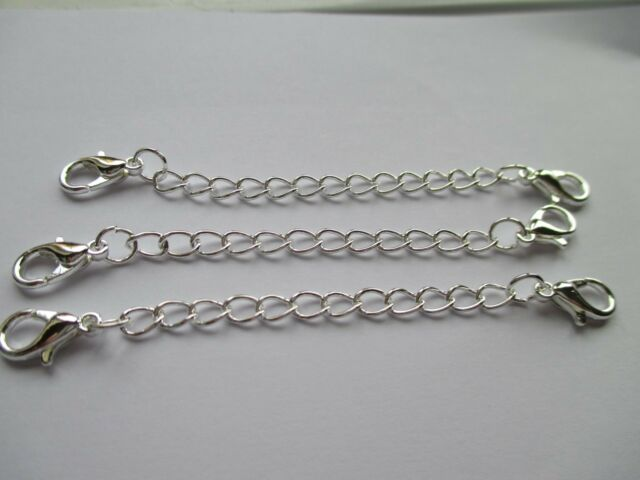 UK 20 Double Clasp Silver Extension Necklace Bracelet  Jewellery Extender Chain