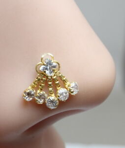 Real-Gold-Nose-Stud-14K-Yellow-Dangle-Chain-Style-Piercing-Push-Pin-nose-ring