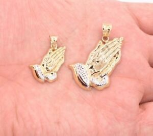 Praying-Hands-Charm-Diamond-Cut-Pendant-Real-10K-Yellow-White-Two-Tone-Gold