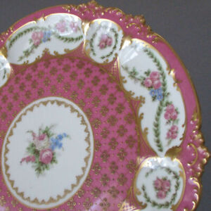 Antique LIMOGES Porcelain Cabinet Plate PINK Roses Swags Lush GILT Paste Accents