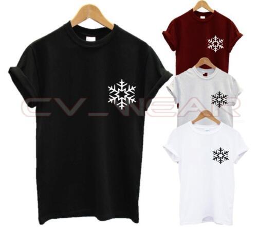 SNOWFLAKE POCKET LOGO T SHIRT CHRISTMAS XMAS GIFT PRESENT STOCKING FILLER UNISEX