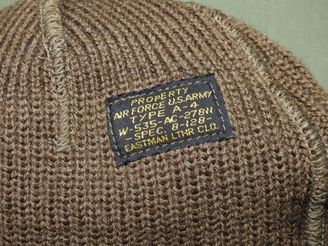 US Army AAF WW2 EASTMAN A-4 KNIT WOOL MECHANIC'S CAP Beanie Watch Hat Vtg Style