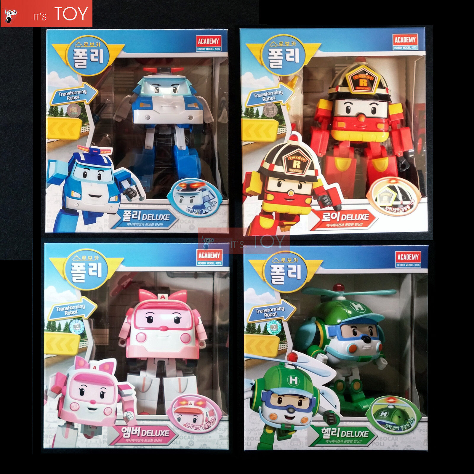 robocar poli deluxe poli roy amber helly transforming figures transformers 4pcs ebay. Black Bedroom Furniture Sets. Home Design Ideas