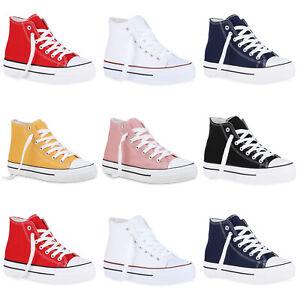 Damen-Sneaker-High-Basic-Canvas-Turnschuhe-Schnuerer-Freizeitschuhe-896065-Mode
