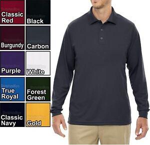 bb5ce522 BIG MENS Performance Dri Fit Wicking Long Sleeve Polo Golf Shirt 2X ...